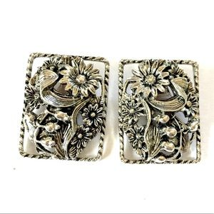 Sarah Coventry Silver Floral Earrings Clip On